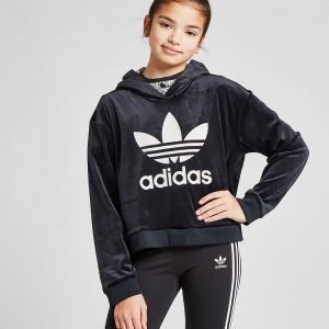 Adidas Originals Girls' Trefoil Crop Velour Huppari Musta