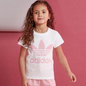 Adidas Originals Girls' Trefoil T-Paita Valkoinen