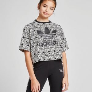 Adidas Originals Girls' Zebra All Over Print Crop Toppi Musta