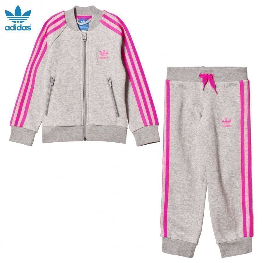 Adidas Originals Grey And Pink Tracksuit T-Paita