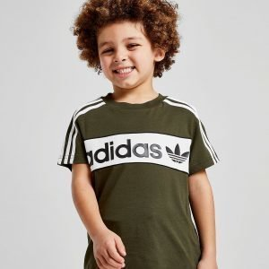 Adidas Originals Linear Colour Block T-Shirt Cargo / White