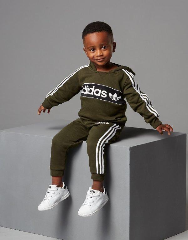 Adidas Originals Linear Overhead Tracksuit Infant Vihreä