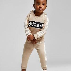 Adidas Originals Logo Overhead Hooded Verryttelypuku Beige
