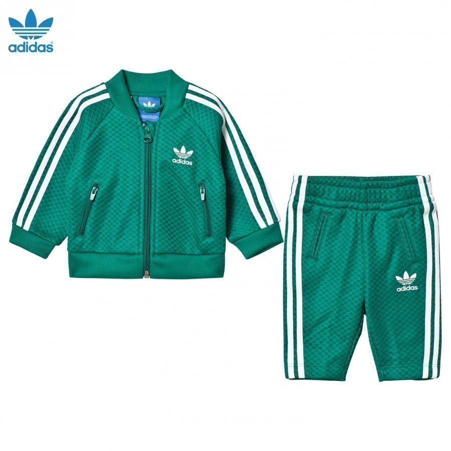 Adidas Originals Mesh Infant Tracksuit Green/White Verryttelyasu