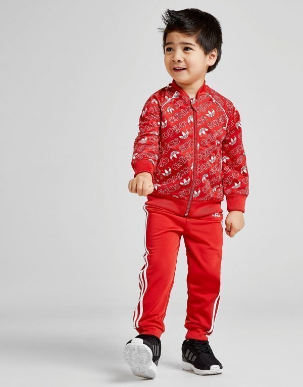 Adidas Originals Mono All Over Print Superstar Tracksuit Infant Punainen