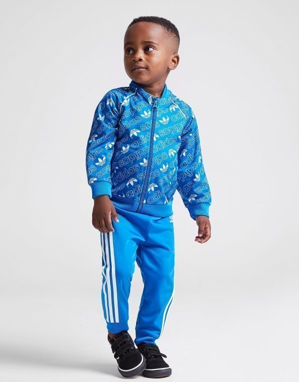 Adidas Originals Mono All Over Print Superstar Tracksuit Infant Sininen