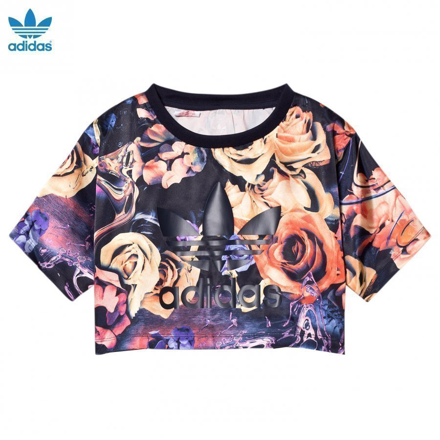 Adidas Originals Multi Rose Branded Cropped Tee T-Paita