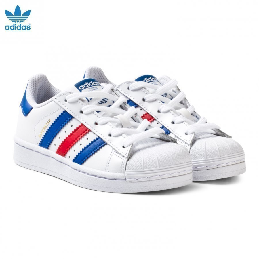 Adidas Originals Superstar Kids Trainers White Navy And Red Lenkkarit