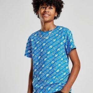 Adidas Originals Trefoil All Over Print T-Shirt Sininen