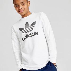 Adidas Originals Trefoil Long Sleeve T-Paita Valkoinen