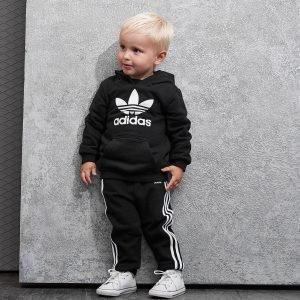Adidas Originals Trefoil Overhead Hooded Suit Infant Musta