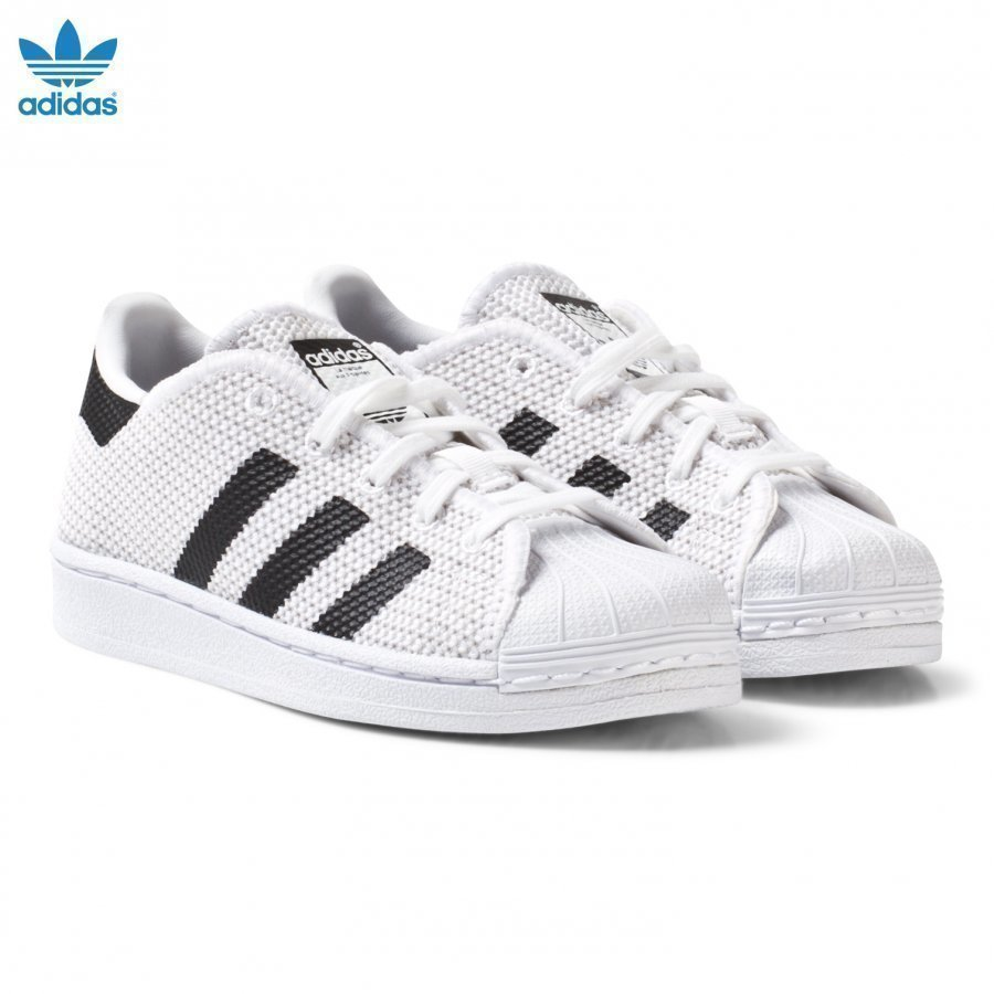 Adidas Originals White And Black Superstar Kids Trainers Lenkkarit