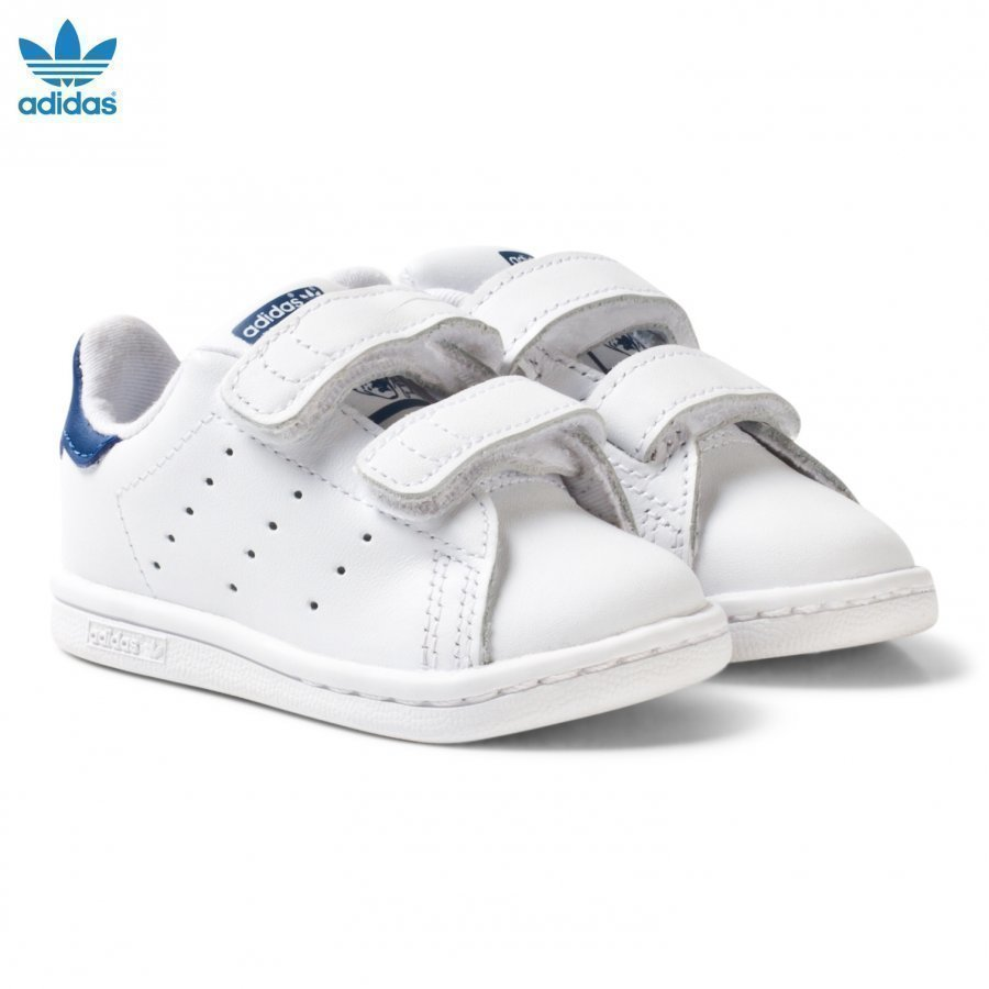 Adidas Originals White And Blue Stan Smith Infant Trainers Lenkkarit