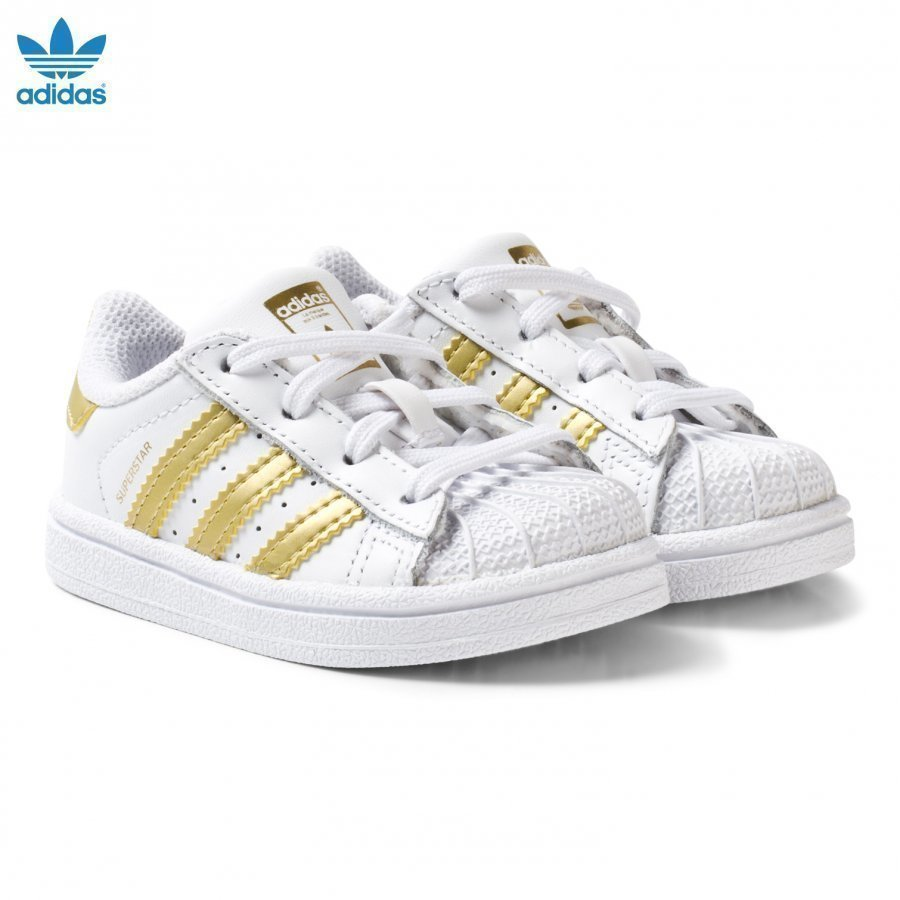 Adidas Originals White And Gold Superstar Infant Trainers Lenkkarit