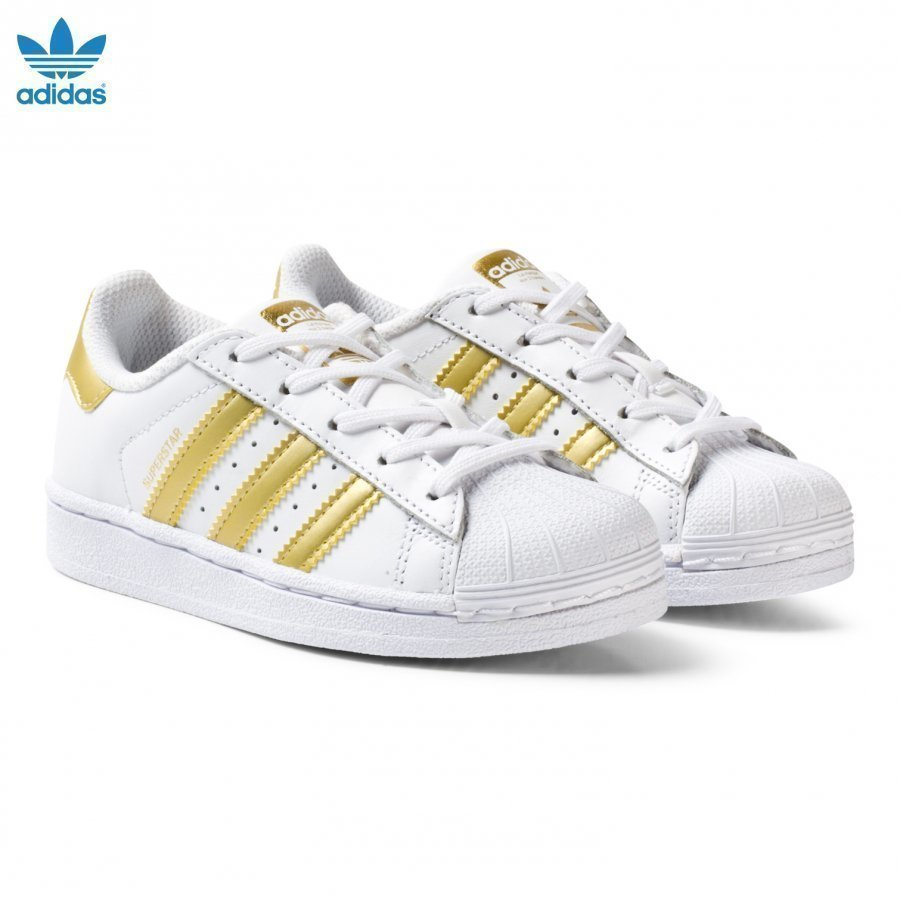Adidas Originals White And Gold Superstar Kids Trainers Lenkkarit
