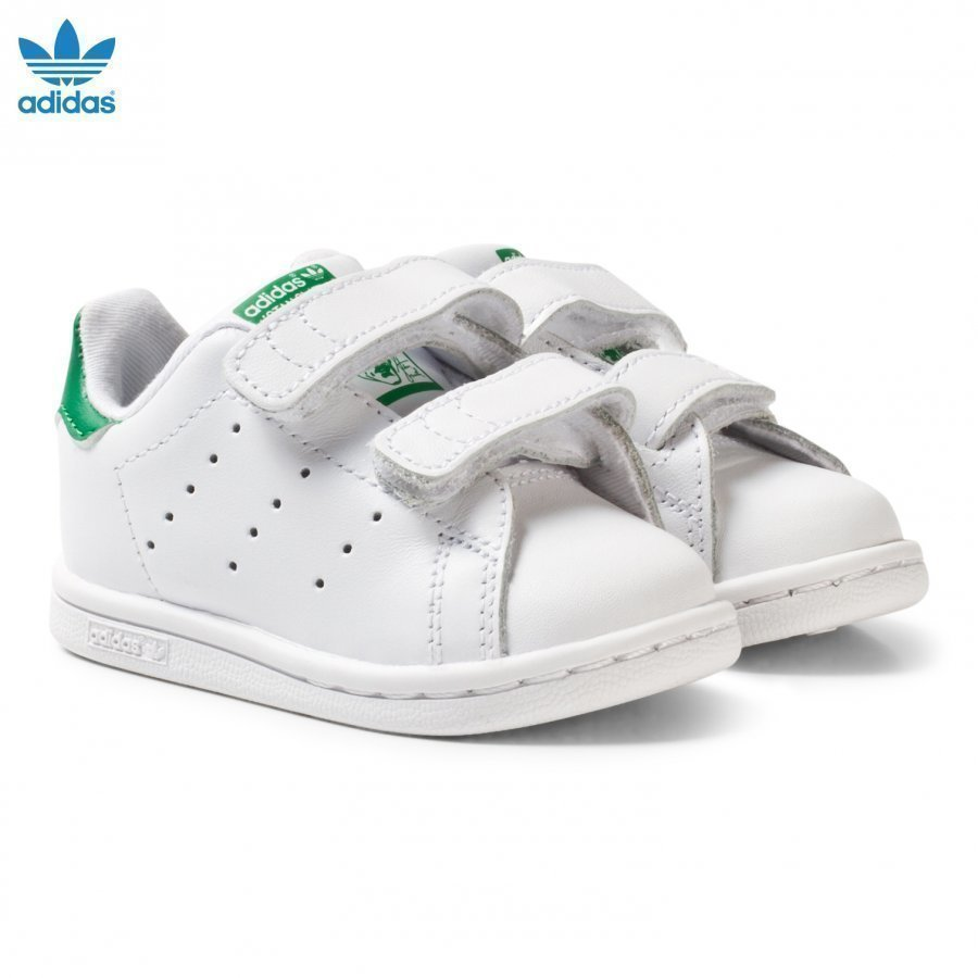 Adidas Originals White And Green Stan Smith Infants Velcro Sneakers Lenkkarit