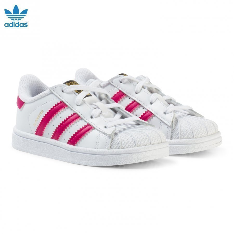 Adidas Originals White And Pink Infants Superstar Trainers Lenkkarit