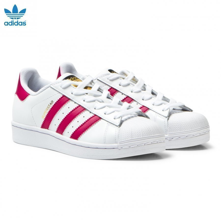 Adidas Originals White And Pink Junior Superstar Trainers Lenkkarit