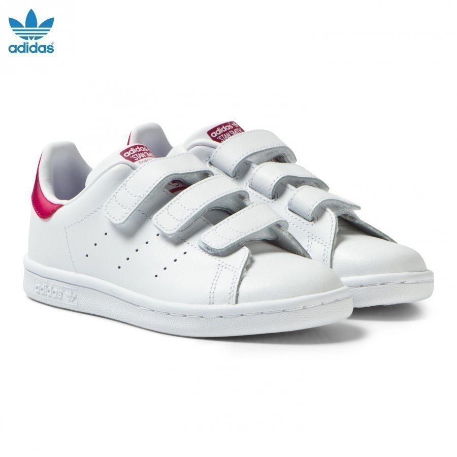 Adidas Originals White And Pink Kids 3v Stan Smith Trainers Lenkkarit