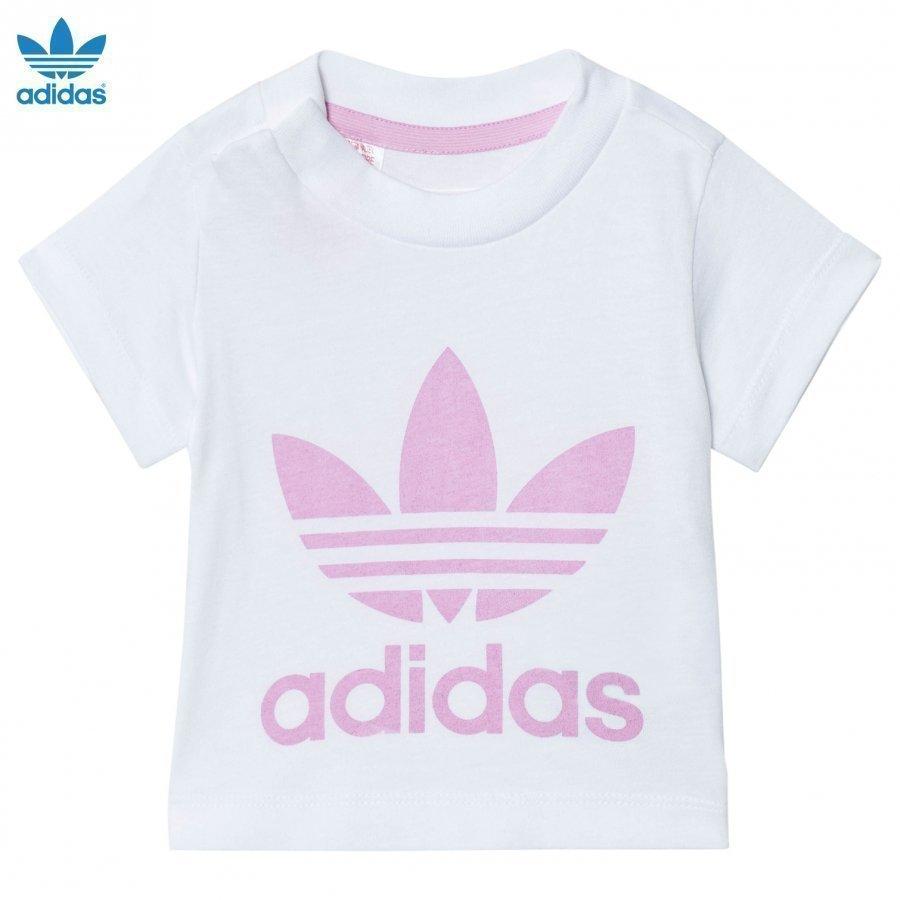 Adidas Originals White And Pink Logo Tee T-Paita