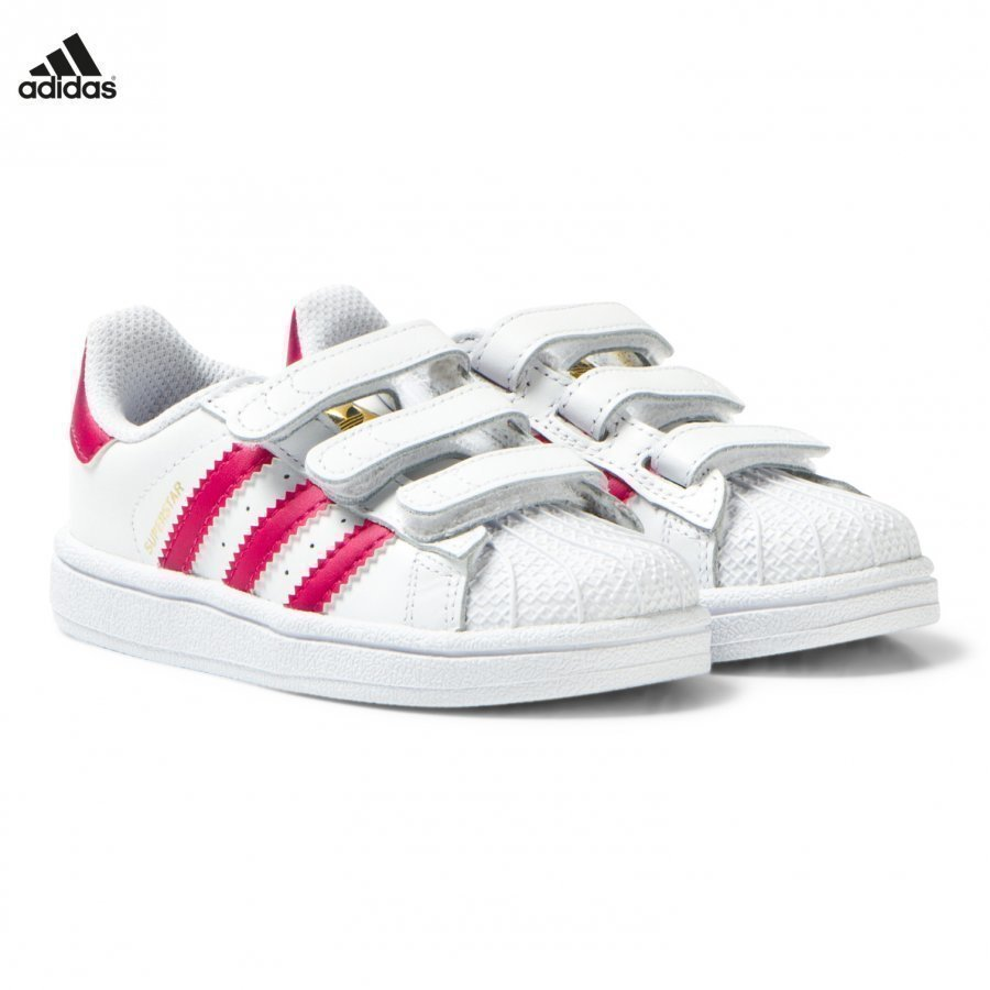 Adidas Originals White And Pink Superstar Velcro Trainers Lenkkarit
