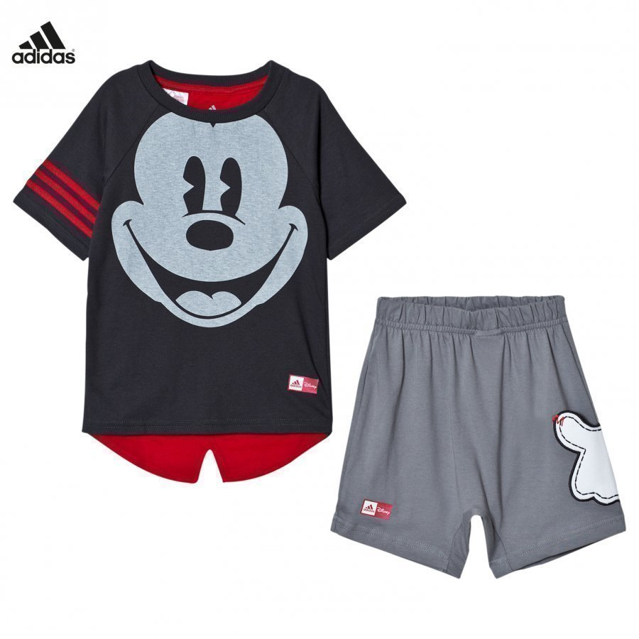 Adidas Performance Grey Disney Micky Mouse Tee Shorts Set Asusetti