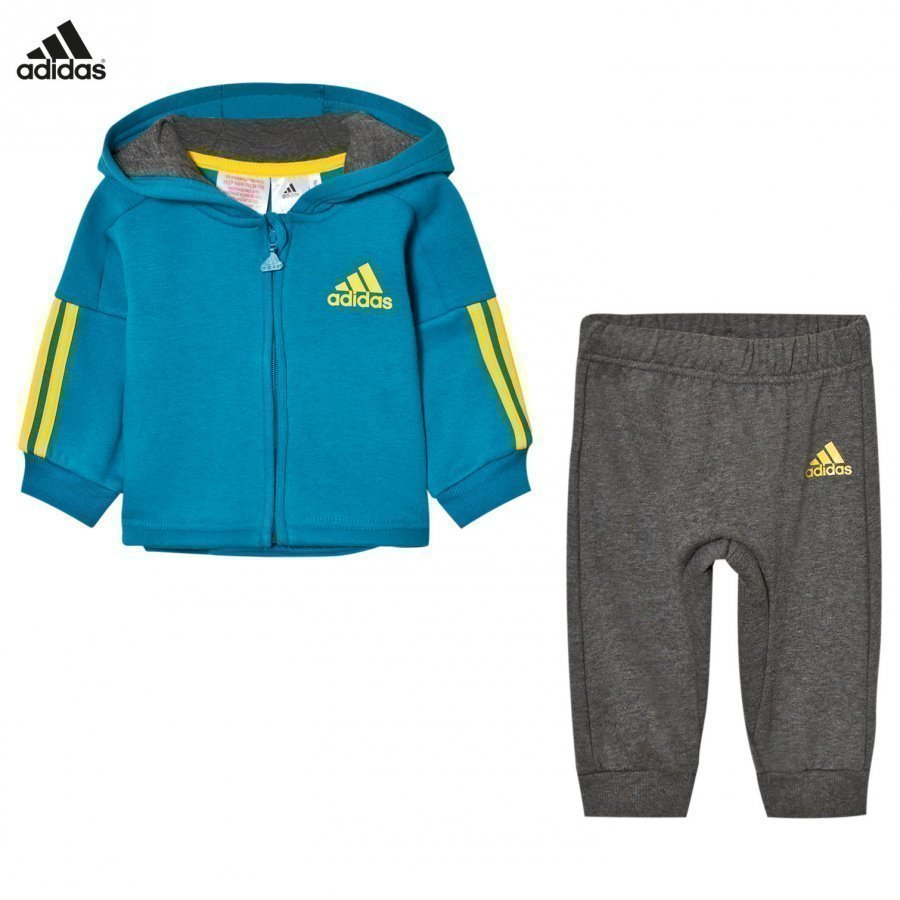 Adidas Performance Hoodie Sweatpants Set Teal/Grey Asusetti