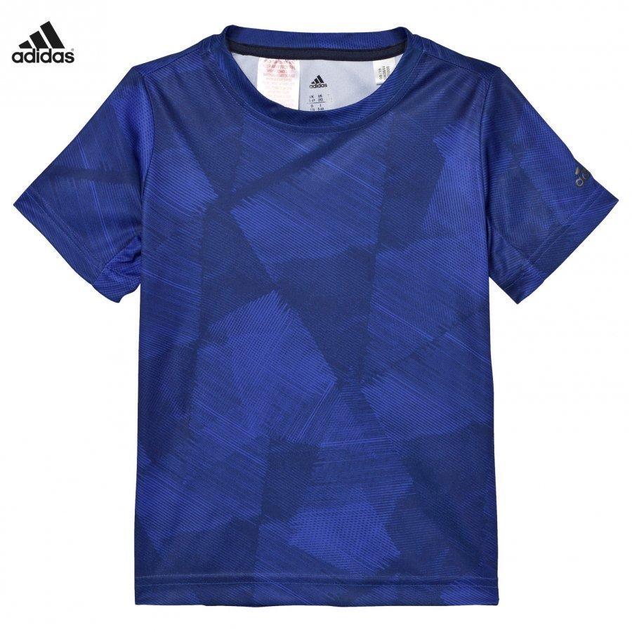 Adidas Performance Navy And Blue Print Tee T-Paita