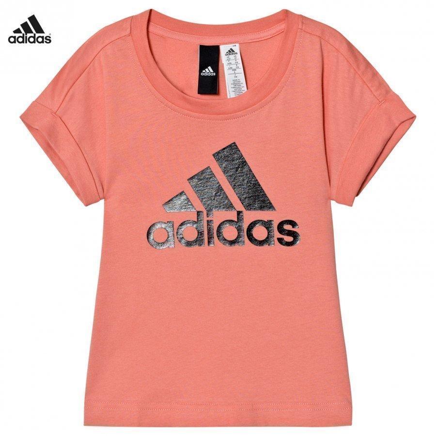 Adidas Performance Pink Logo Tee T-Paita