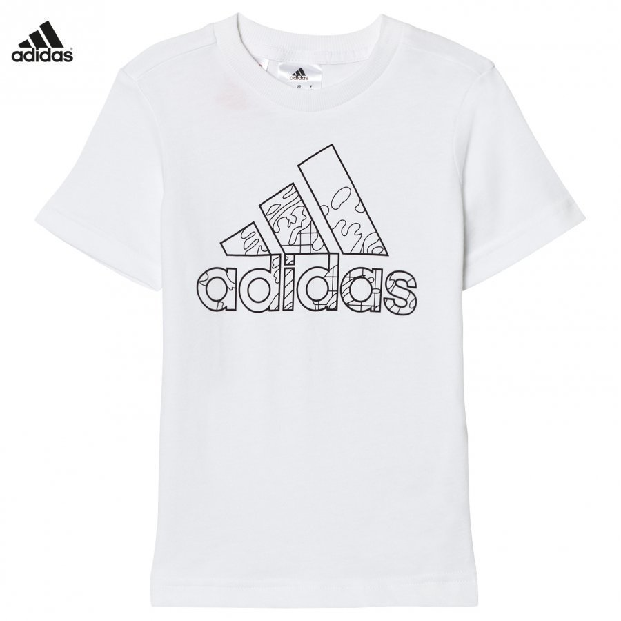 Adidas Performance White Branded Drawable Kids Tee T-Paita