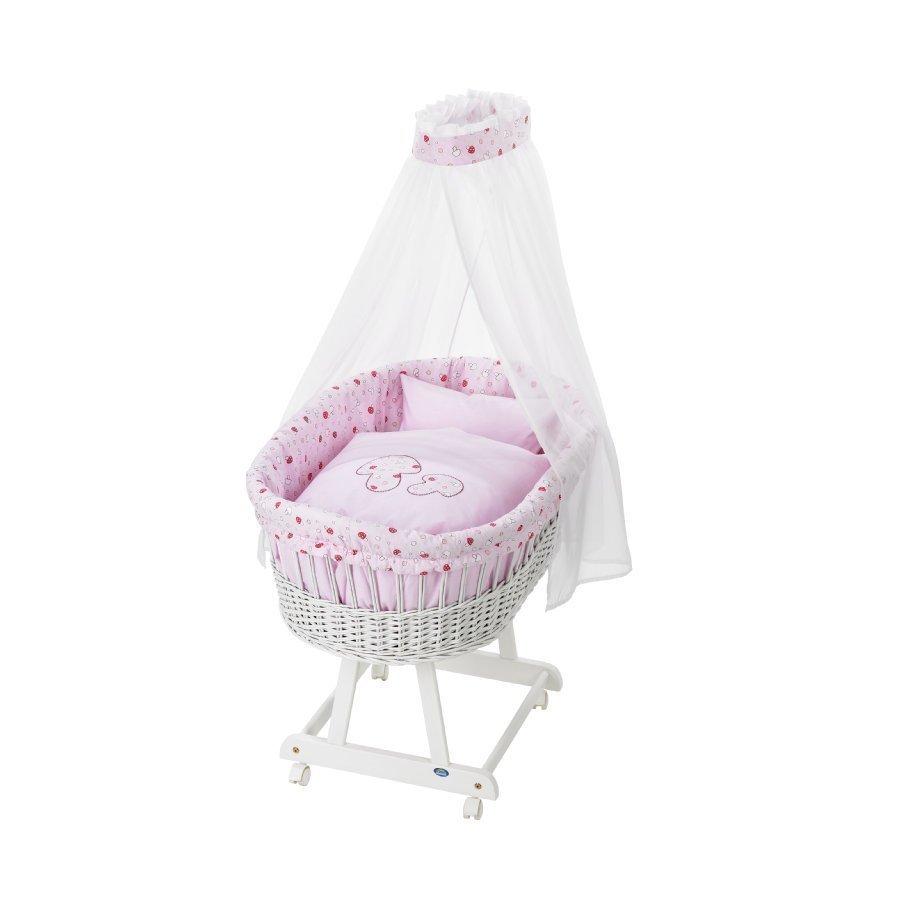Alvi Vauvan Korisänky Birthe Sänkysetillä Valkoinen Vaaleanpunaiset Sienet 713 2