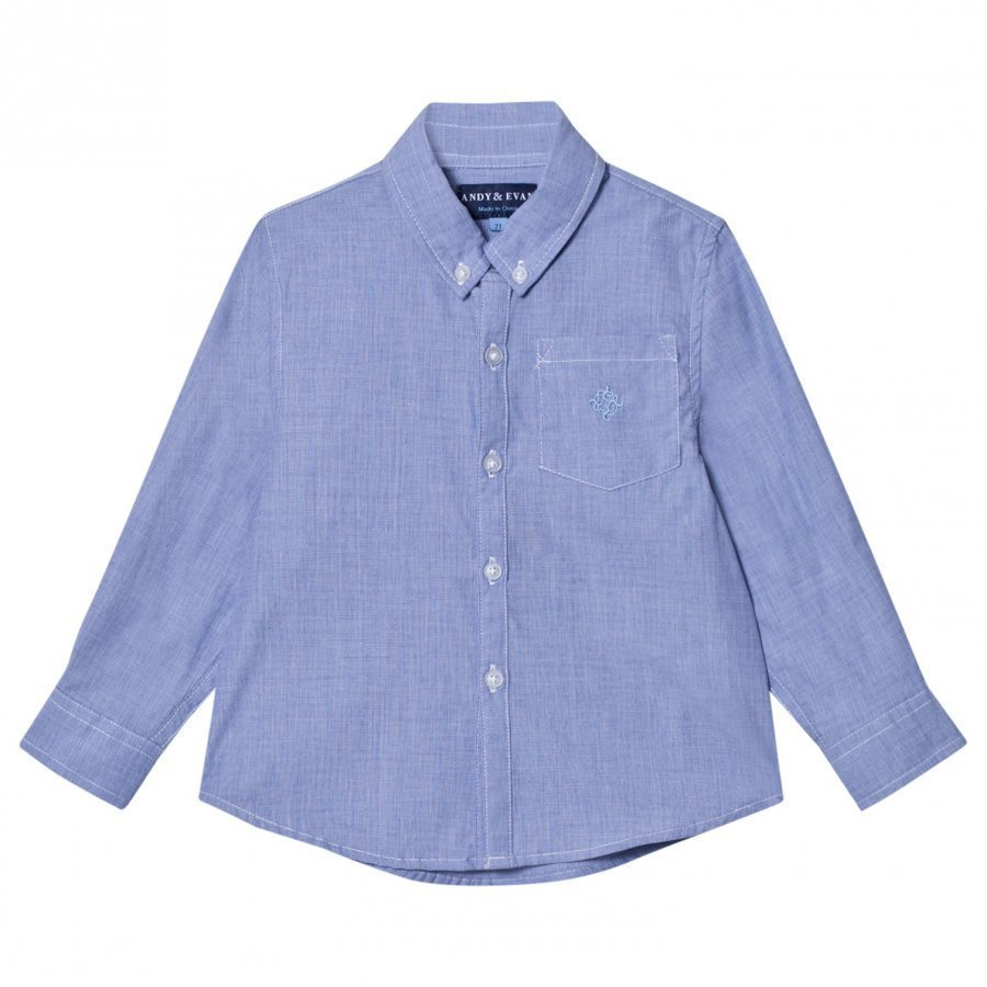 Andy & Evan Blue Chambray Button Down Shirt Kauluspaita