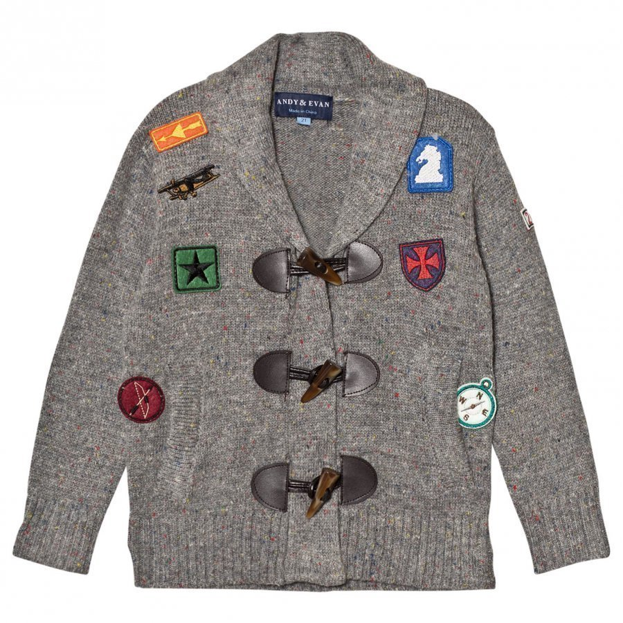 Andy & Evan Grey Patches Toggle Cardigan Neuletakki
