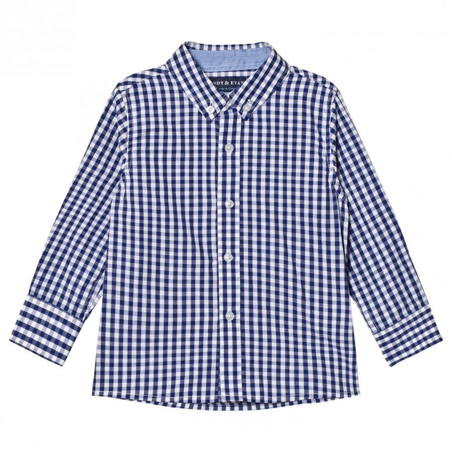 Andy & Evan Navy And White Gingham Button Down Shirt Kauluspaita