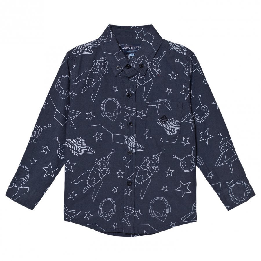 Andy & Evan Navy Galaxy Print Shirt Kauluspaita