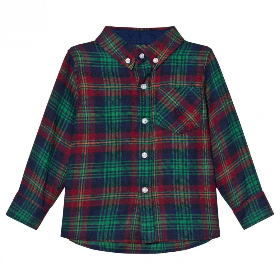 Andy & Evan Navy Red Green Plaid Flannel Shirt Kauluspaita