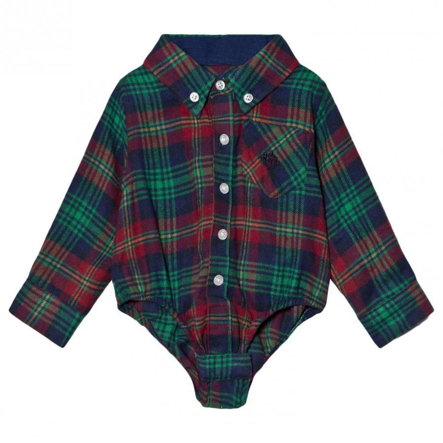 Andy & Evan Navy Red Green Plaid Flannel Shirtzie Kauluspaita