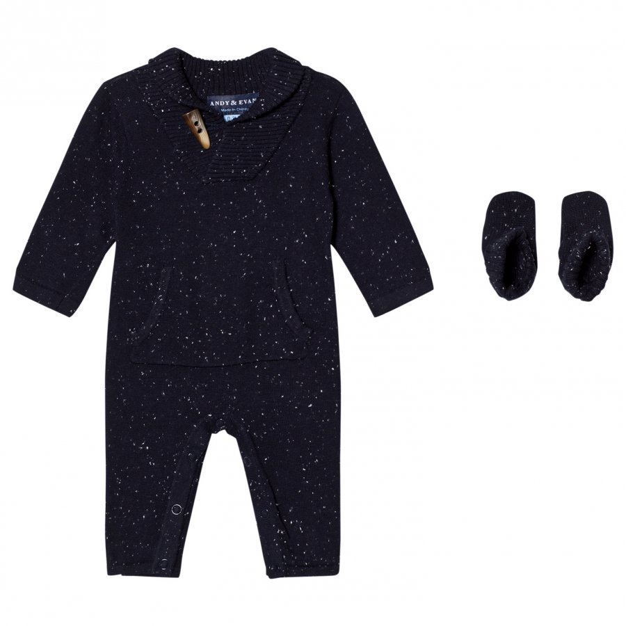Andy & Evan Navy Slub Toggle Romper Puku