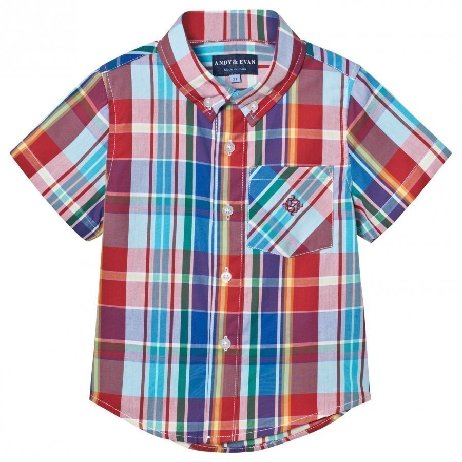 Andy & Evan Red And Blue Madras Button Down Shirt Kauluspaita