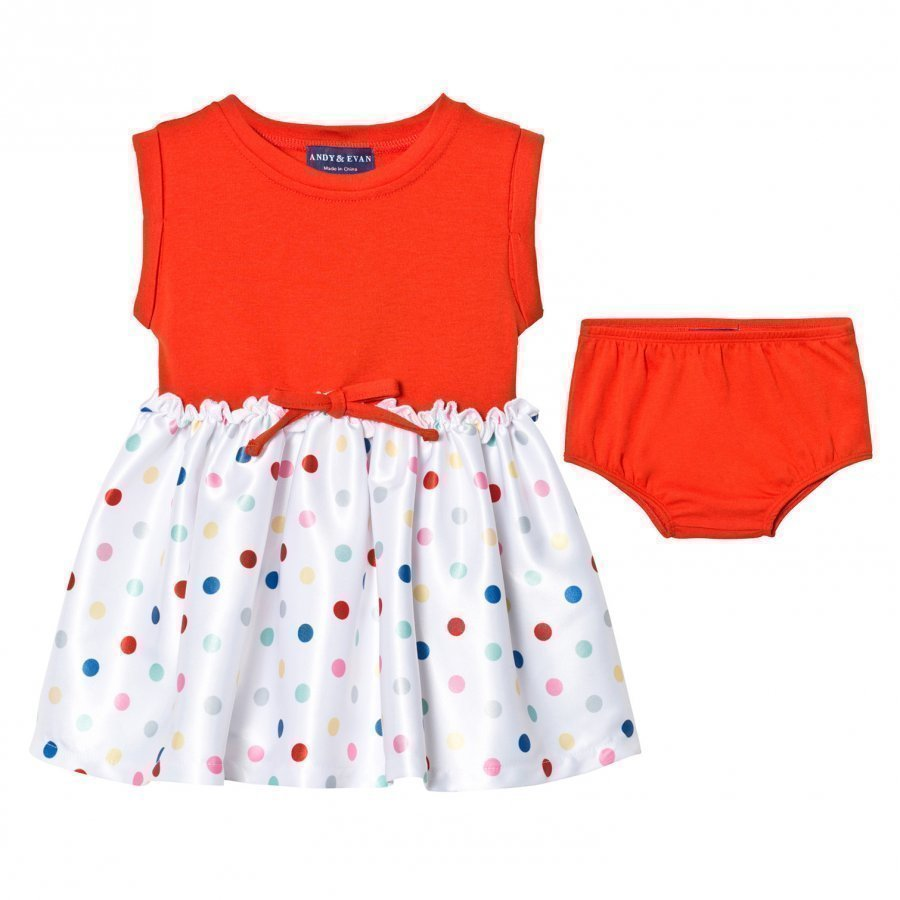 Andy & Evan Red Tee Dress With Spot Skirt Juhlamekko