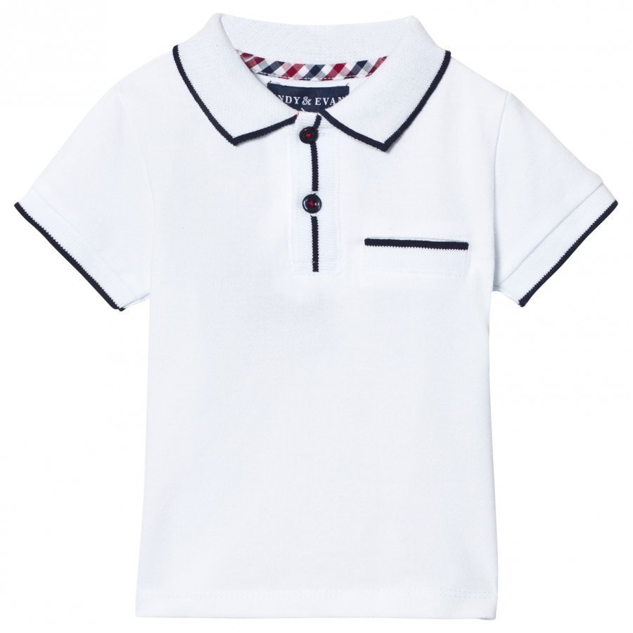 Andy & Evan White Polo With Navy Ribbing Pikeepaita