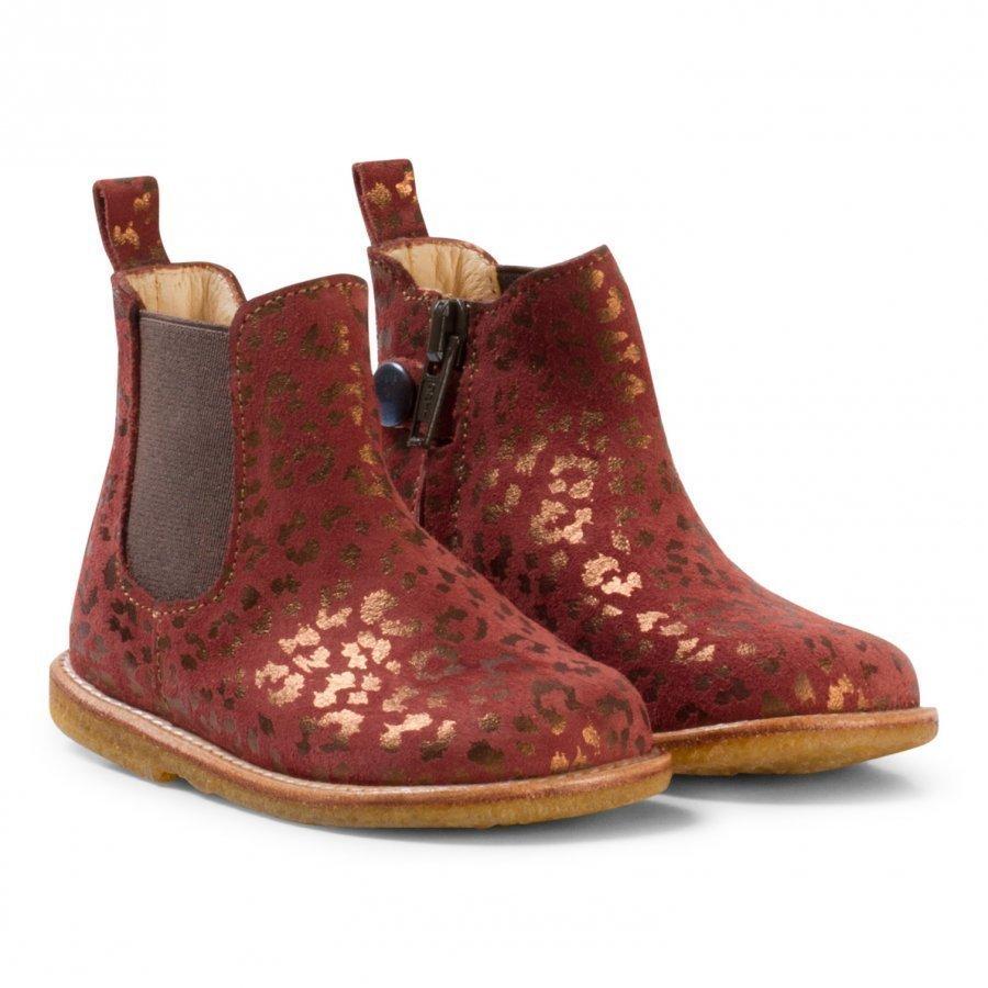 Angulus Brown And Bronze Animal Print Zip Chelsea Boots Nilkkurit