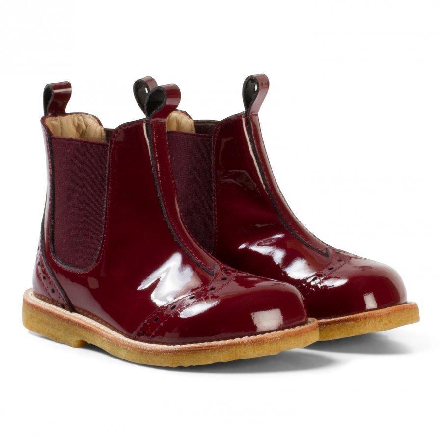 Angulus Burgundy Patent Brogue Chelsea Boots Nilkkurit