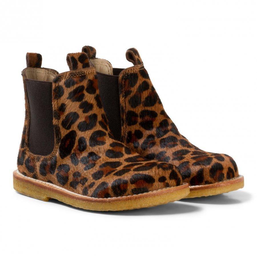Angulus Dark Leopard Print Pony Hair Chelsea Boots Nilkkurit