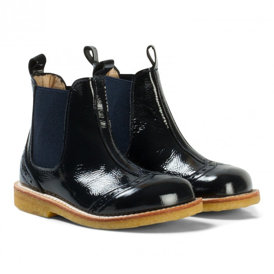 Angulus Navy Patent Brogue Chelsea Boots Nilkkurit