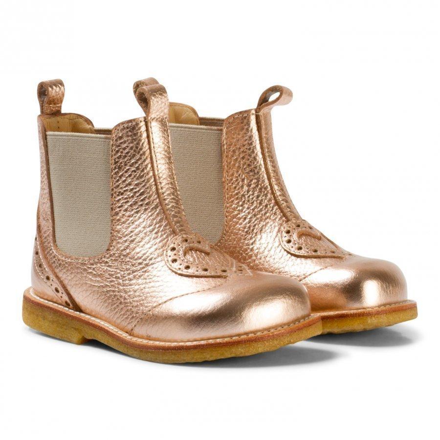 Angulus Rose Gold Heart Brogue Chelsea Boots Nilkkurit