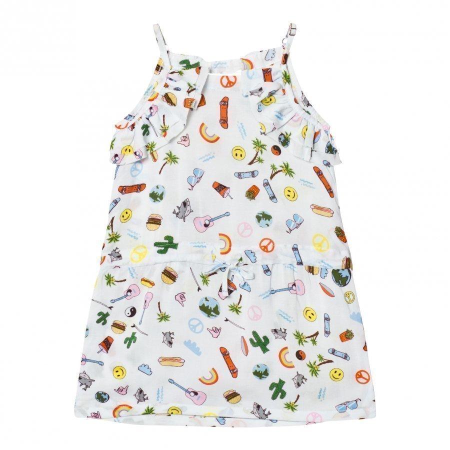 Anne Kurris Blue All Over Emoji Print Voile Dress Mekko
