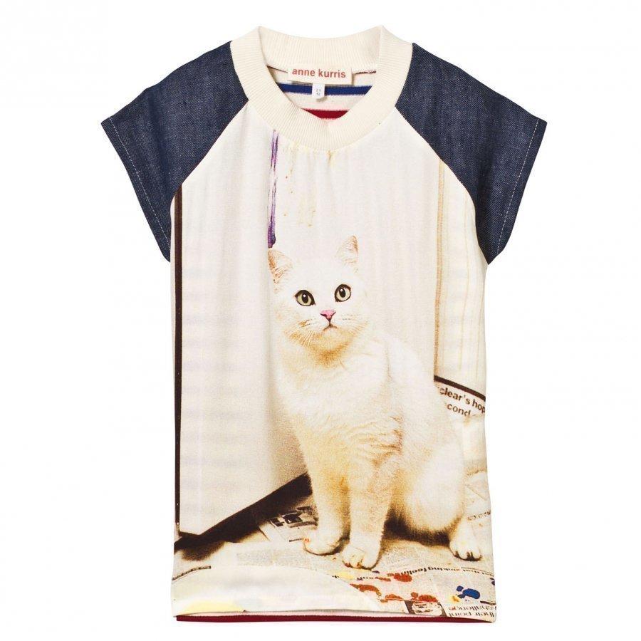 Anne Kurris Cat Print Chiffon And Stripe Jersey Dress Mekko