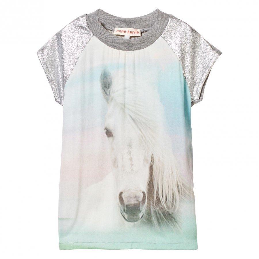 Anne Kurris Horse Print Sweat Dress With Lurex Sleeves Mekko