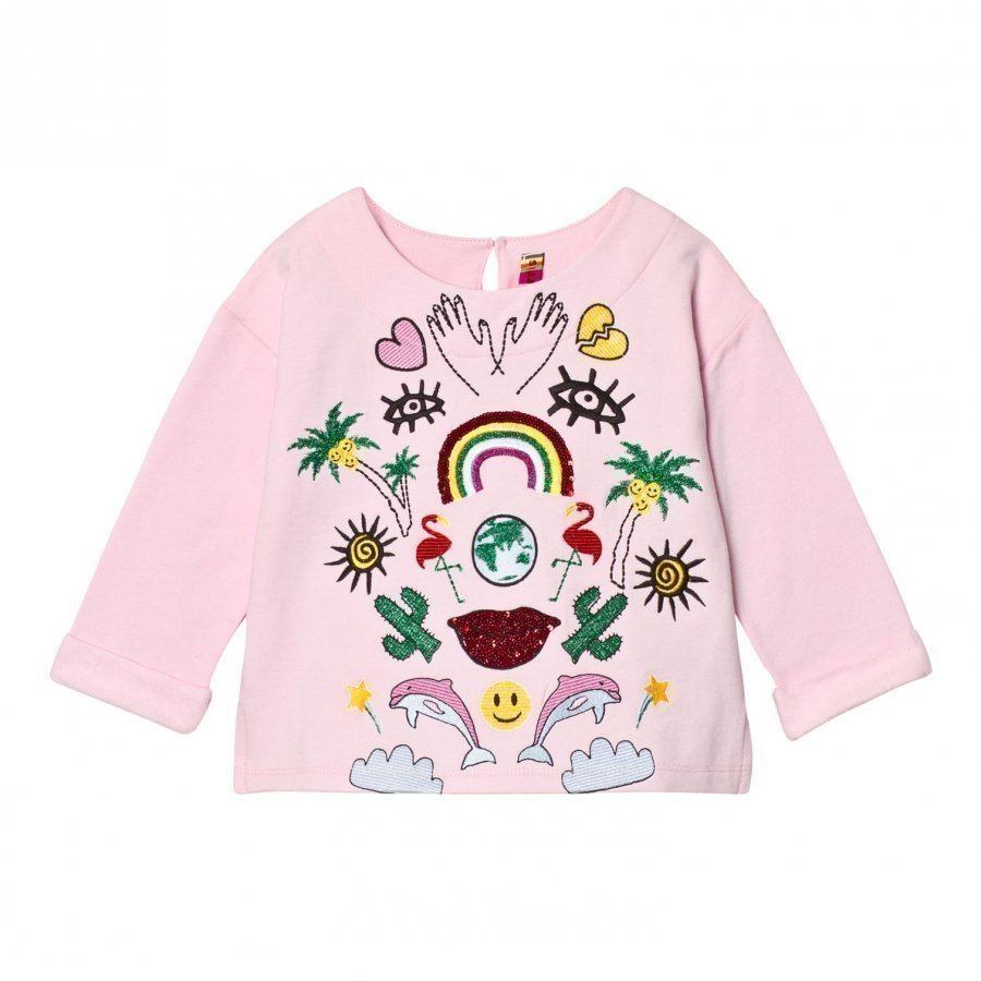 Anne Kurris Pink Sequin Jungle And Embroidereed Sweatshirt Oloasun Paita